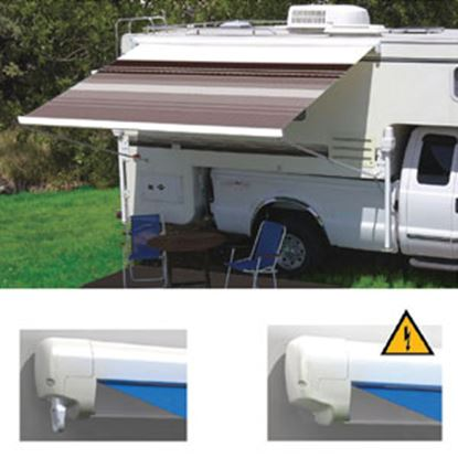 """Picture of Carefree Freedom Black/Gray Vinyl 8' 5""""L X 6' 6""""Ext Adj Pitch Manual Box Awning 351018D25 00-0958"""