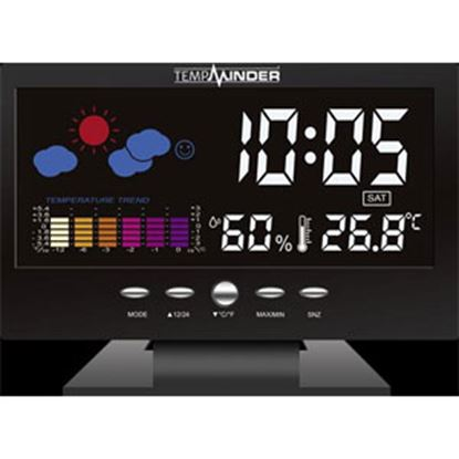 Picture of   Black Color LCD Display Indoor Thermeter w/ Clock MRI-015KH 03-2300