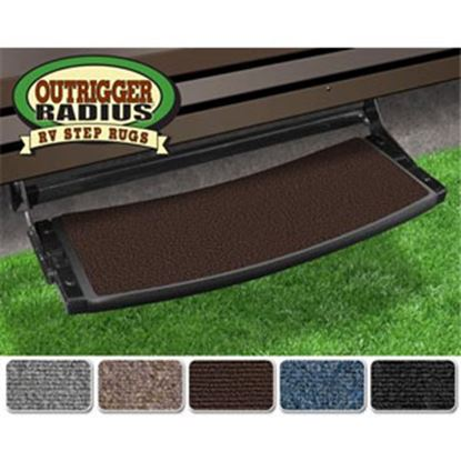 """Picture of Prest-o-Fit Outrigger (R) Chocolate Brown 22"""" Radius Entry Step Rug 20375 04-0290"""