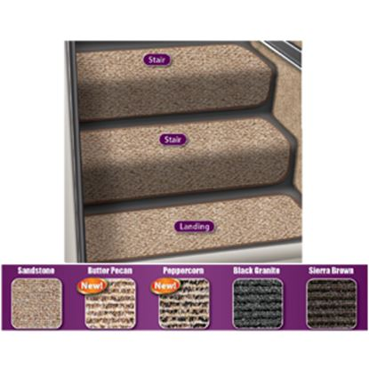 """Picture of Prest-o-Fit Step Huggers (R) 23-1/2""""L x 10""""W Peppercorn Step Rug for Landing Steps 5-3093 04-0447"""