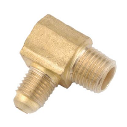 "Picture of Anderson Metal LF 7409 Series 3/8"" OD Tube 45 Deg SAE Flare x 1/4"" MPT Brass Fresh Water 90 Deg Elbow 704049-0604 06-1276"