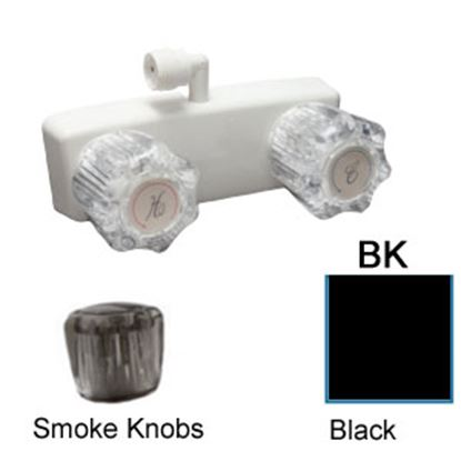 "Picture of Dura Faucet  4"" Black Plastic Shower Valve w/Acrylic Knobs DF-SA100S1-BK 10-3819"