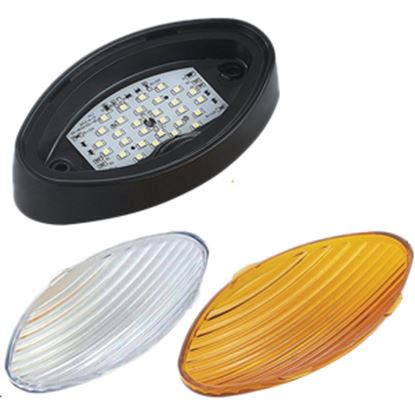 Picture of Green LongLife  Clear w/Amber Lens Oval LED Porch Light 9090130 18-1184