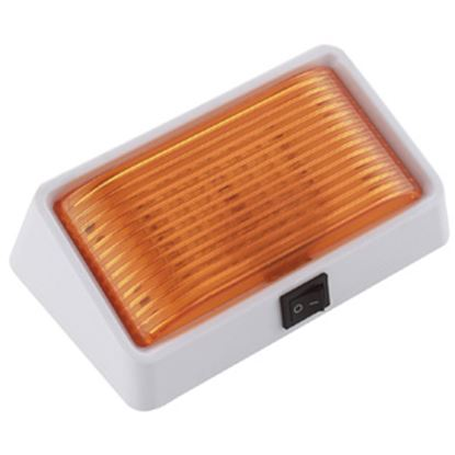 Picture of Green LongLife  Clear w/Amber Lens Rectangular LED Porch Light w/Switch 9090120 18-1396