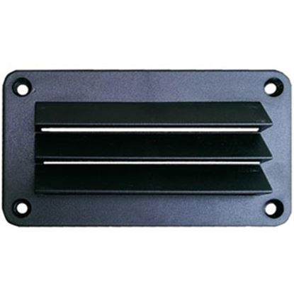 """Picture of Leisure Time  Black ABS 3""""L X 5""""W Rectangular Wall Vent w/ Fixed Louvers DV35B 22-3550"""