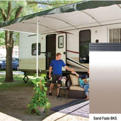 "Picture of Lippert Solera Destination Sand Fade Vinyl 16'L X 9' 8""Ext Patio Awning w/Black Solera Shield V000334873 90-2171"
